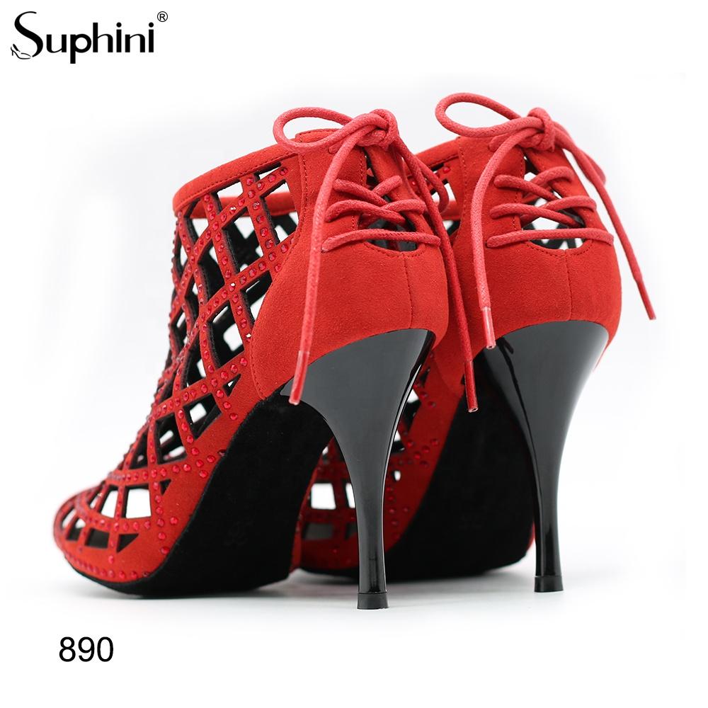 Suphini Exotic Black Microfiber Dancing Shoes Rhinestone Dance Boots